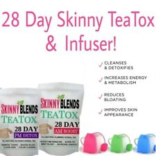 28 DAY SKINNY TEATOX AM-PM ORGANIC DETOX & WEIGHTLOSS TEAS & FREE TEA INFUSER!