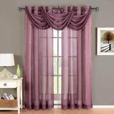 Abri Grommet Crushed Sheer Curtain Panel Window Treatment 2 panels & 3 Valances