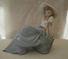 "LLADRO by NAO CIRCA 1987 WOMEN reclining ""Listening to Birds Songs"" 1042 SUPERB"