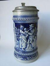 Vintage Old Gerz W. Germany German Beer Stein Cobalt Blue Background