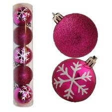 Christmas Decoration 5 Pack 60mm Snowflake & Glitter Baubles - Cerise