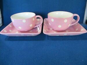 PAMPERED CHEF Help Whip Cancer Pink Large Ribbon Polka Dot 2 Mug 2 Square Plates