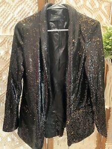 Women Sequin Blazer Zara Black And Gold Size Medium