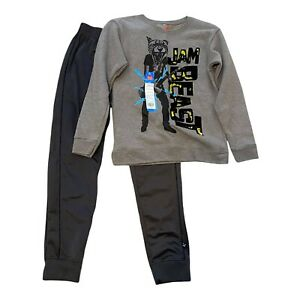 Athletic Boys Jogger Pants & Hanes Sweatshirt Size 10-12 Gray black