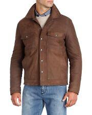Isaia Napoli Nubuck Leather Trucker Jacket - Dark Brown - Size 56
