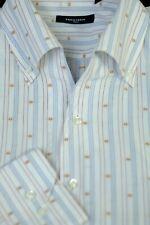 Equilibrio Men's White Light Blue Gold Stripe Cotton Casual Shirt XL XLarge