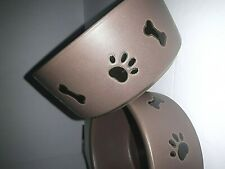 Pets - Stoneware doggy dish with Paw and bone designs around side