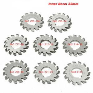 Involute Gear Cutters Module PA20 Bore 22mm M1 #1-8 HSS Gear Milling Cutter Tool