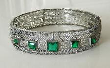 Art Deco Antique Filigree Green Glass Stone Bangle Bracelet N104N