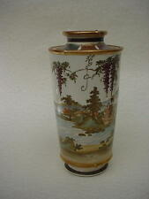 DIVINE!  Wonderful earthenware Satsuma  GYOKUZAN VASE w/ WISTERIAS