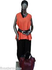 Gr.L  XXXL Sarah Santos Bluse Leinenbluse Shirt Tunika Blusentop Koralle ITALIEN