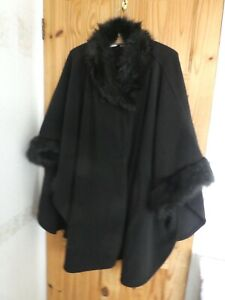 MARKS AND SPENCER BLACK WRAP CAPE OPEN COAT  ONE SIZE    FUR COLLAR AND CUFFS
