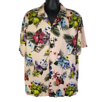 No Boundaries NoBo Mens XL Hawaiian Shirt Pink Floral Multicolor Rayon