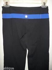 Lululemon 4 Workout Athletica Yoga Pants Leggings Black Blue Biking Gym EUC
