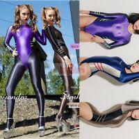M-2XL Leohex Women's High Cut High Leg Long-Sleeved Sexy Racing swimsuit Leotard