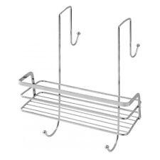 Mensola porta oggetti con ripiano e ganci in acciaio cromato