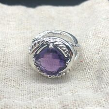 David Yurman Sterling Silver Infinity Ring With Amethyst  Size 6.5