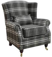 Ashley Fireside High Back Wing Armchair Balmoral Charcoal Check Fabric