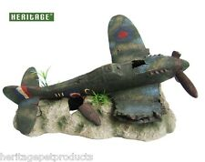 HERITAGE WA008L AQUARIUM FISH TANK LARGE RAF SPITFIRE PLANE WRECK ORNAMENT 39CM