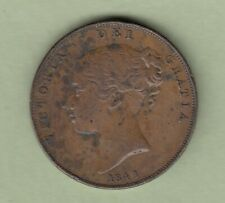 1841 Great Britain One Penny Coin - Queen Victoria - VF