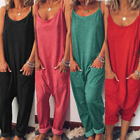 Womens Sleeveless Summer Casual Beach Jumpsuit Romper Baggy Harem Pants Playsuit