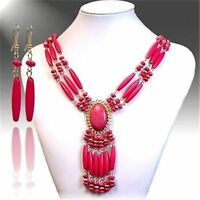 Pretty Stranded  Beads Tassle Necklace Earring Jewelry Set