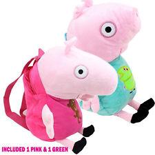 "[Set of 2] New Peppa Pig 15"" Stuffed Plush Backpack US Seller"