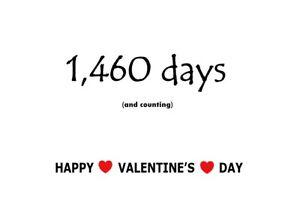 Valentine's Day Card - Number of Days Together - Girlfriend - Boyfriend - Love