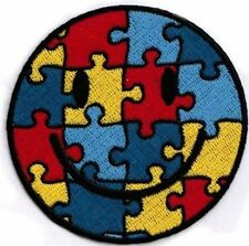 "SMILEY AUTISM Face Jigsaw Rainbow Gay NEW 3"" MC Embroidered Biker Patch PAT-3320"
