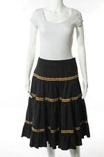 Diane Von Furstenberg Green Wool Yellow Trim Marcia A-Line Skirt Size 2