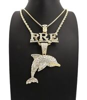 New Young DOLPH PRE & DOLPHIN Chain Set 14K Gold Plated.
