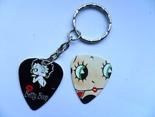 BETTY BOOP Two Picture  Guitar Pick // Plectrum Silver Keyring  b