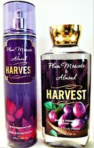 Bath Body Works PLUM MOSCATO ALMOND, HARVEST, Fragrance Mist, Shower Gel NEW x 2