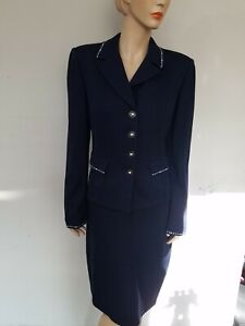 ST JOHN Size 12 Dark Navy Blue Jacket Blazer