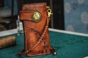 Custom Leather Biker Wallet Chain Motorcycle Wallet Handmade Leather Wallet X26