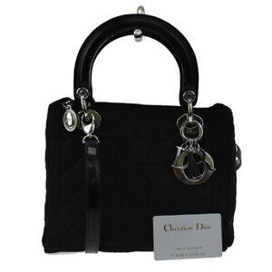 Authentic Christian Dior Lady Cannage 2Way Hand Bag Nylon Leather Black 91LB218