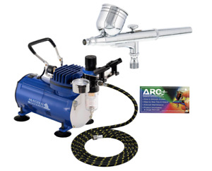 Master Airbrush Multi-purpose Gravity Feed Dual-action Airbrush Kit with 6 READ