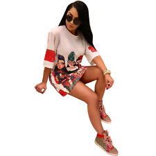NEW Women Summer Half Sleeve Cartoon Girl Print Casual Loose T-Shirt Dress Cool