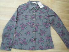 "KHAKI FLORAL girls shirt-like button up jacket M&S ANGEL teen/trendy 38"" S BNWT"