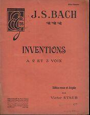 Inventions à 2 et 3 voix BACH J.S Edition revue et doigtée - Staub Victor