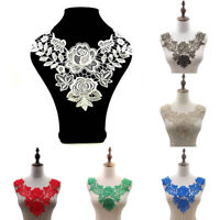 1PC 3D Hollow Embroidery Lace Collar DIY Applique Patches Sewing Lace Collar