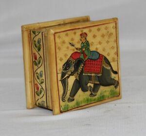Vintage Hand Painted Elephant On Solid Camel Bone Trinket Box 11214