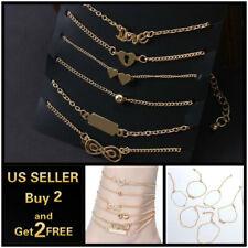 Anklet Ankle Bracelet Foot Chain 6Pcs Set Gold Heart Love Lock