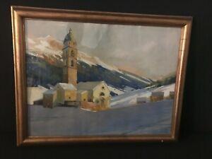 + Giovanni MÜLLER (1890-1970) Dorfkirche in der Schweiz, Aquarell