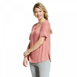New Xhilaration GET REAL Embroidered Sleeve V-Neck Short-Sleeve Sleep Shirt