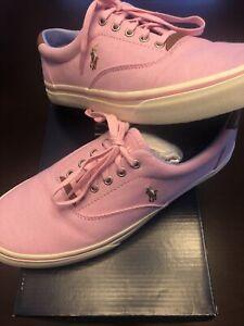 Polo Ralph Lauren Thornton Pink Canvas Casual Sneakers Shoes Men's 10D