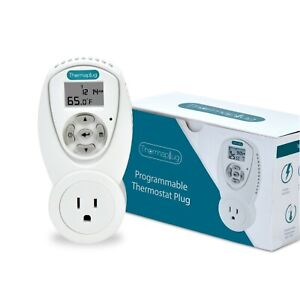 Programmable Thermostat Outlet Plug for Space Heaters and A/Cs 120v 110v 15 amps