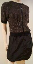 JIGSAW Black Gold Metallic Knit Short Sleeve Bodice Sheen Short Skirt Evening S