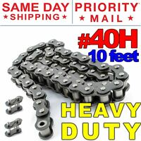 #40H Heavy Duty Roller Chain x 10 feet + 2 Connecting Link + Same Day Shipping