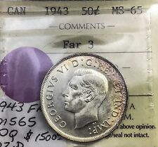 Canada 1943 FAR 3  ICCS 50  Cents  GEM UNC  MS65  Incredible Eye Appeal